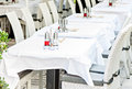 Restaurant tables ready to serve guests Royalty Free Stock Photo