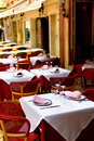 A restaurant - tables on the street Royalty Free Stock Photo