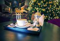 Restaurant tea set in interior Royalty Free Stock Images