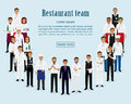 Restaurant team. Group of manager, chef, waiters, cook, bartenders standing together. Food service staff website banner.