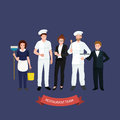 Restaurant team, man cooking chef, manager, waiter, cleaning woman. Royalty Free Stock Photo