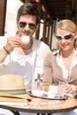 Restaurant terrace elegant couple drink coffee Royalty Free Stock Photo