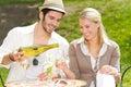 Restaurant terrace elegant couple sunny day Royalty Free Stock Photo
