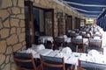 Restaurant terrace in France Stock Photo
