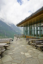 Restaurant on the top of a mountain in kaprun austria Royalty Free Stock Photo