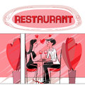Restaurant valentine valentines day card hand drawn illustration of two lovers dining at the talking and drinking wine Royalty Free Stock Photography