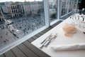 Restaurant with view on Piazza Duomo (Milan, Italy Royalty Free Stock Photo
