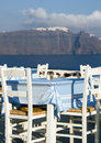 Restaurant view of santorini Royalty Free Stock Images