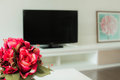 Restful living room small and with red rose Stock Images