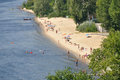 Resting on the beach unknown people rest of city embankment august in kiev ukraine Stock Images