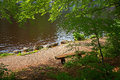 Resting bench at the shore of a moor pond Royalty Free Stock Photo