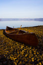Resting canoe at Lake Toya, Hokkaido, Japan Royalty Free Stock Photos