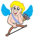 Resting cupid with bow Stock Images