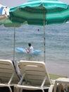 Resto en la playa del mar Imágenes de archivo libres de regalías
