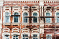 Restoration of old building with white windows and red bricks Stock Photo