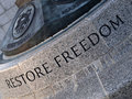 Restore Freedom Carving Stock Photo