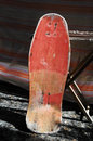 Restore an old vintage wooden skateboard at home Royalty Free Stock Photography