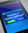 Restore to factory settings illustration depicting a phone with a concept Royalty Free Stock Photo