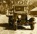 Restored Antique Ford Truck In Sepia Royalty Free Stock Photo