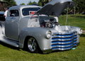 Restored antique lowrider silver truck with blue grill Royalty Free Stock Photos