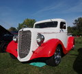 Restored antique red and white truck Royalty Free Stock Images