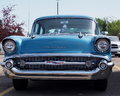 Restored antique turquoise and white chevrolet bel belair Stock Photography