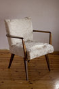 Restored chair wooden retro soft armchair Royalty Free Stock Image