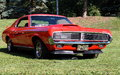 Restored classic cougar red in grassy park in summer Stock Photos