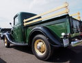 Restored green and black antique ford delivery truck Stock Image
