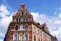 Restored red brick historicist building in Germany