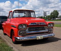 Restored red chevrolet truck with white roof Stock Image