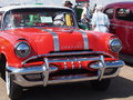 Restored red pontiac with chrome detail Stock Images