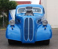 Restored supercharged antique blue car at rally Royalty Free Stock Photography
