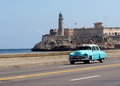 Restored Turquoise Car In Havana Cuba Royalty Free Stock Photo