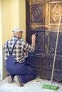 Restoring old door Royalty Free Stock Photo