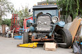 Restoring an old jalopy front view of in the midst of being restored Royalty Free Stock Photos