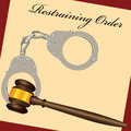 Restraining order with the court hammer and handcuffs vector illustration Royalty Free Stock Photo
