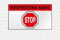Restricted area fence a wire with a stop sign on it Royalty Free Stock Photo