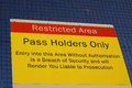 Restricted area sign photograph of a at a ferry port Stock Photography