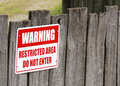 Restricted area warning sign Royalty Free Stock Photo
