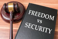 Restrictions on freedom and liberty vs national security concept Royalty Free Stock Photo
