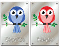 Restroom signs comical bird related isolated on white background Stock Photo