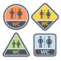 Restroom symbols set flat signs retro color vector illustrations Royalty Free Stock Image