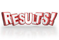 Results d word accomplishment outcome achieve goal in red letters to illustrate a good from a mission achieved objective met or Royalty Free Stock Photo
