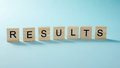 Results word on blue. Succeed business success, be a winner in  elections, pop poll or sports test,  report, election Royalty Free Stock Photo