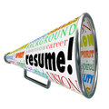 Resume bullhorn megaphone sell your skills experience the word on a or to or communicate background and education for getting Royalty Free Stock Images