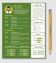 Resume and CV Template with nice minimalist design and Realistic Pencil.