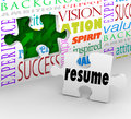 Resume fill opening new position job interview experience a puzzle piece with the word filling an in a wall to illustrate Stock Image