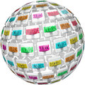 Resume words sphere experience education references a or ball of tiles with related to a such as activities skills and awards Royalty Free Stock Photos