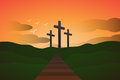 Resurrection three crosses showing a catholic fo easter Royalty Free Stock Photo